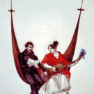 Two People in Hammock Counted Cross Stitch - Aida 14 Count
