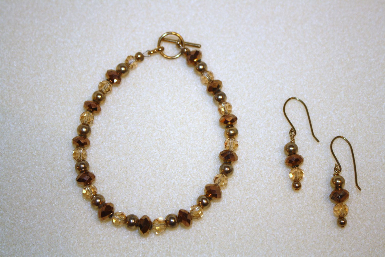 Golden Bling Bracelet & Earrings - Item #BES3