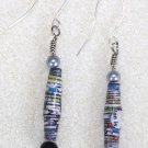 Silver/Black Tones Paper Bead Earrings - Item #E6