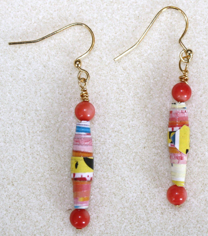 Tropical Mango Paper Bead Earrings - Item #E9