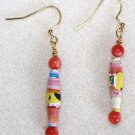 Tropical Mango Paper Bead Earrings - Item #E9