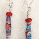 Blue N' Tomato Paper Bead Earrings - Item #E11