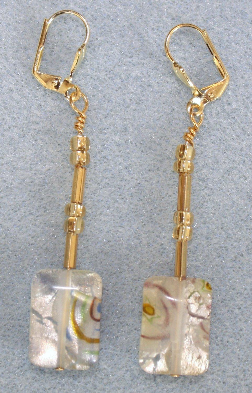 Cream Millefiori Bead Earrings - Item #E15
