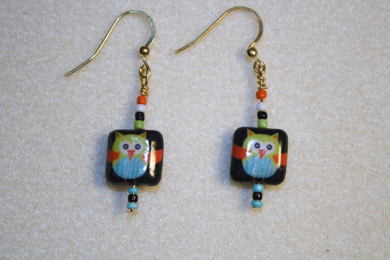 Decoupage Owl Earrings - Item #E28