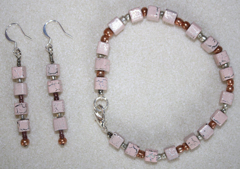 Peach Sparkle Bracelet & Earrings - Item #BES20