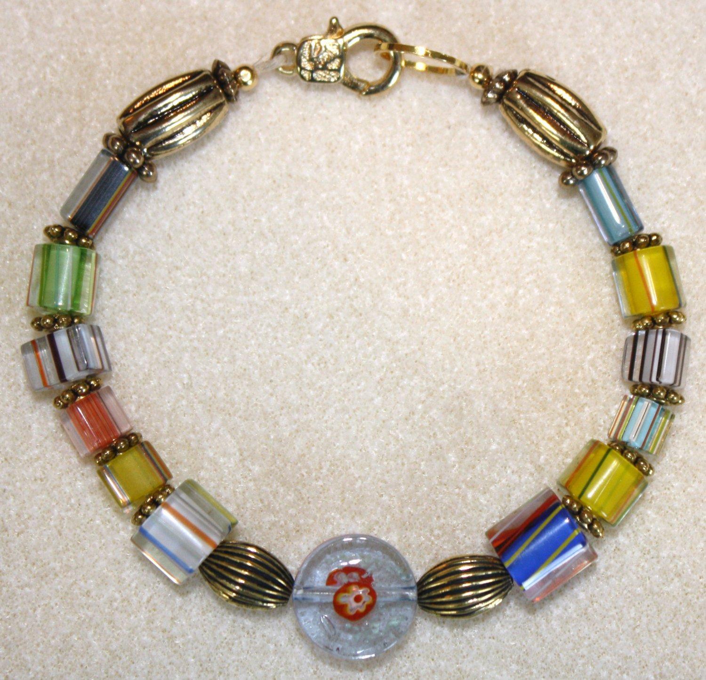 Striped Millefiori Bracelet - Item #B30
