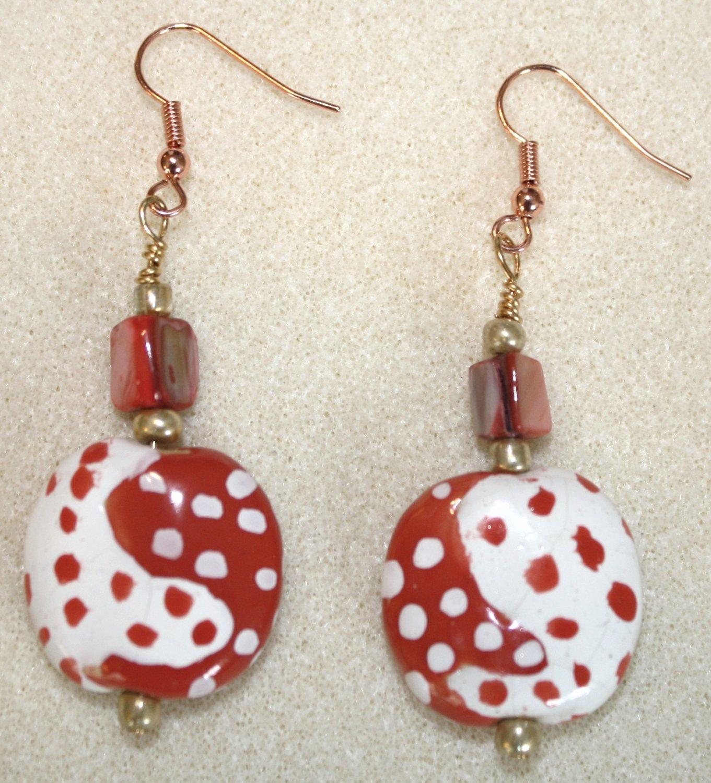 Tomato N' White Dot Earrings - Item #E49