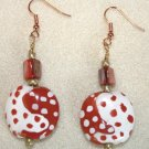 Tomato N' White Dot Earrings - Item #E49
