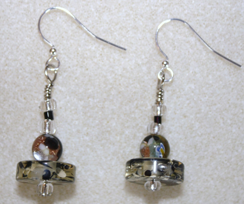 Lucite N' Millefiori Earrings - Item #E50