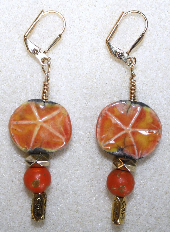 Tangerine Starfish Earrings - Item #E67