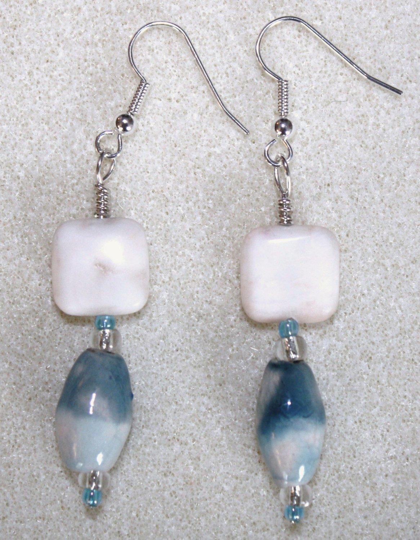 Teal N' Cream Earrings - Item #E73