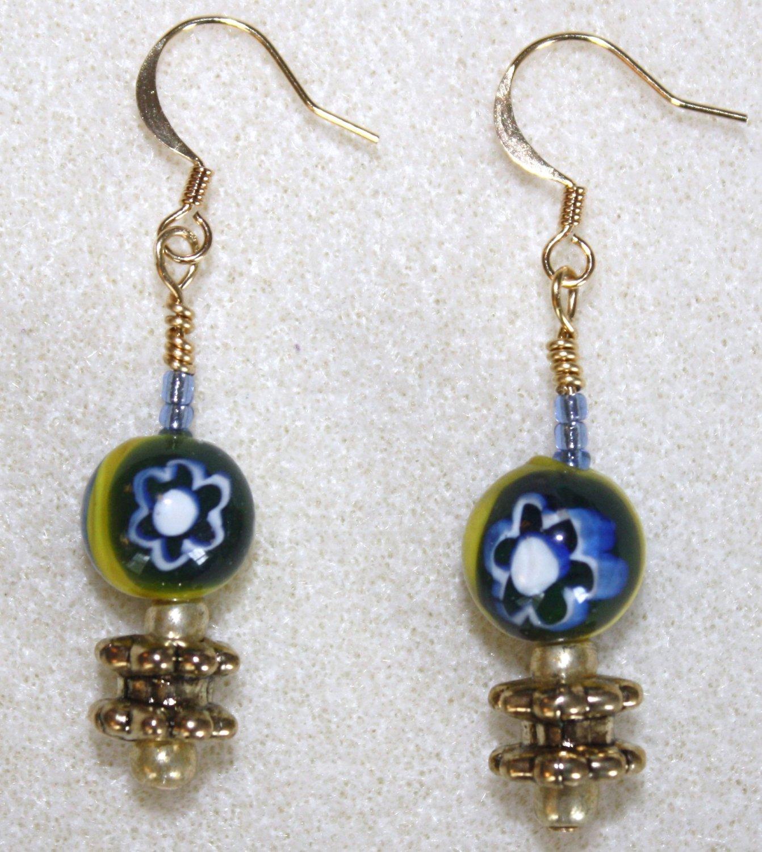 Millefiori Flower Earrings - Item #E74