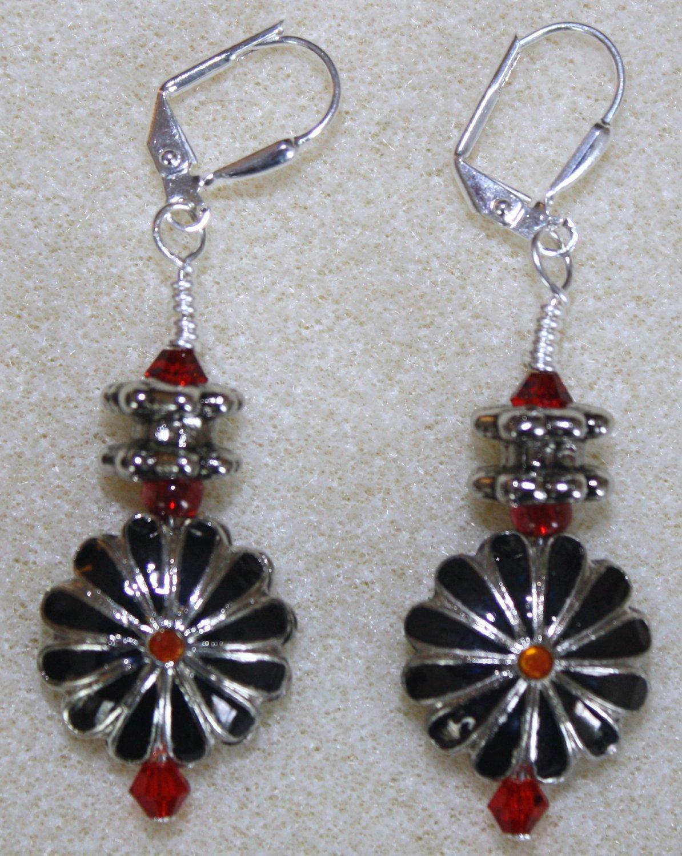 Red, Silver, N' Black Cloisonne' Earrings - Item #E80