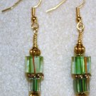 Striped Green N' Gold Millefiori Earrings - Item #E111