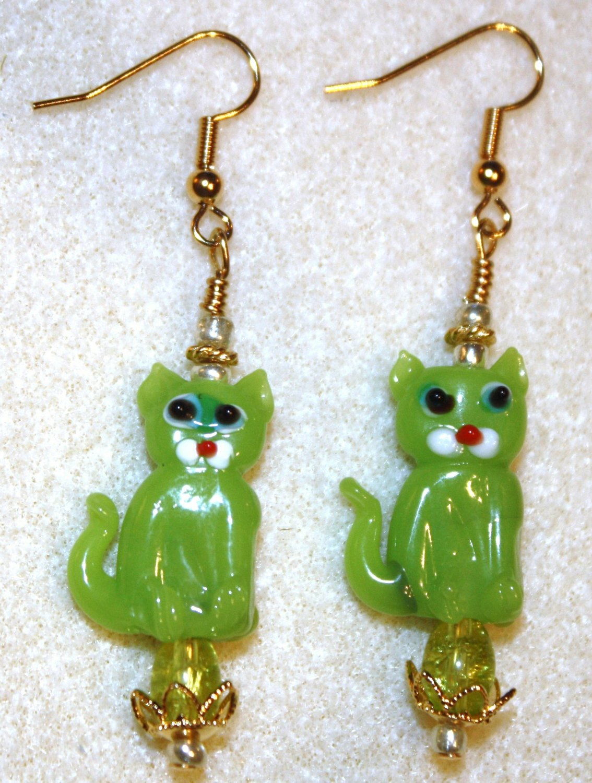 Lime Feline Earrings - Item #E143