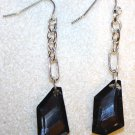 Black Faceted Glass Earrings - Item #E158
