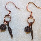 Copper Feather Charm Earrings - Item #E162