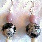 Pink N' Black Agate Earrings - Item #E181