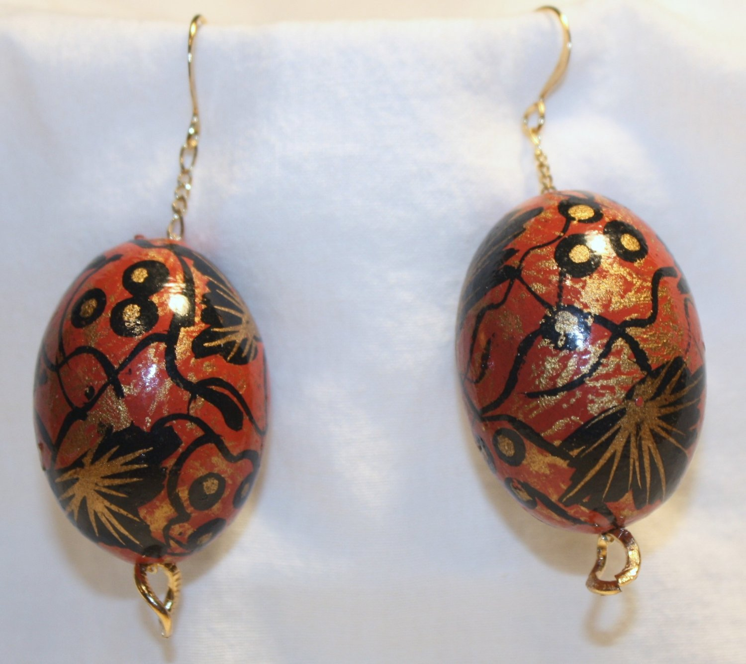 Painted Bead N' Chain Earrings - Item #E253