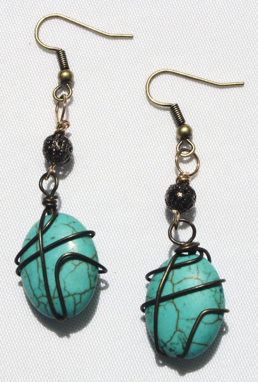 Teal Oval Earrings - Item #E367