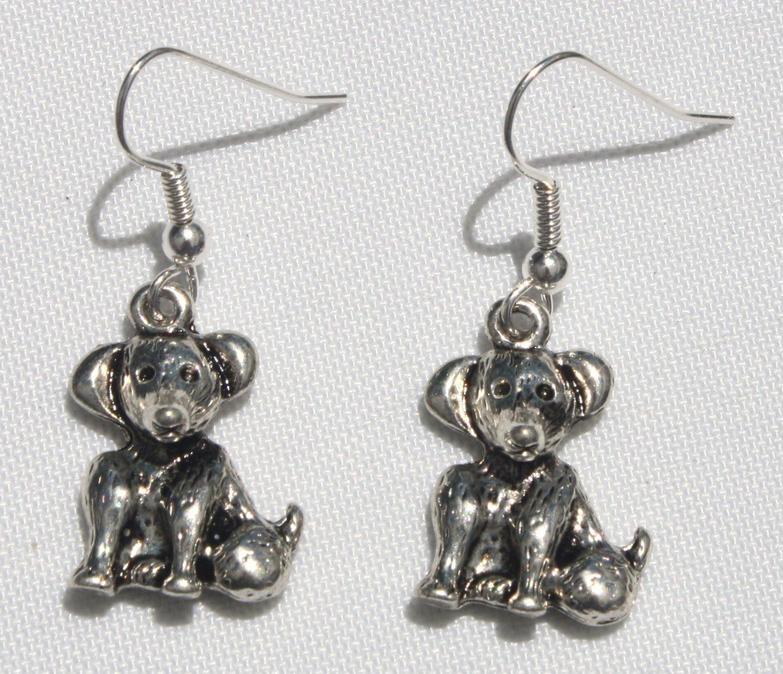 Pewter Puppy Earrings - Item #E359