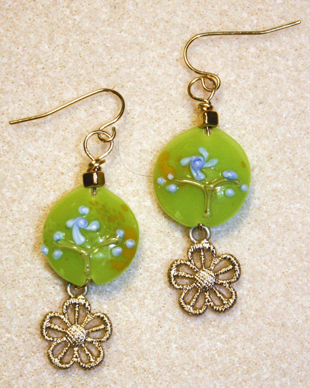 Fresh Floral N' Gold Earrings - Item #E390