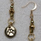 Golden Pawprint Earrings - Item #E416