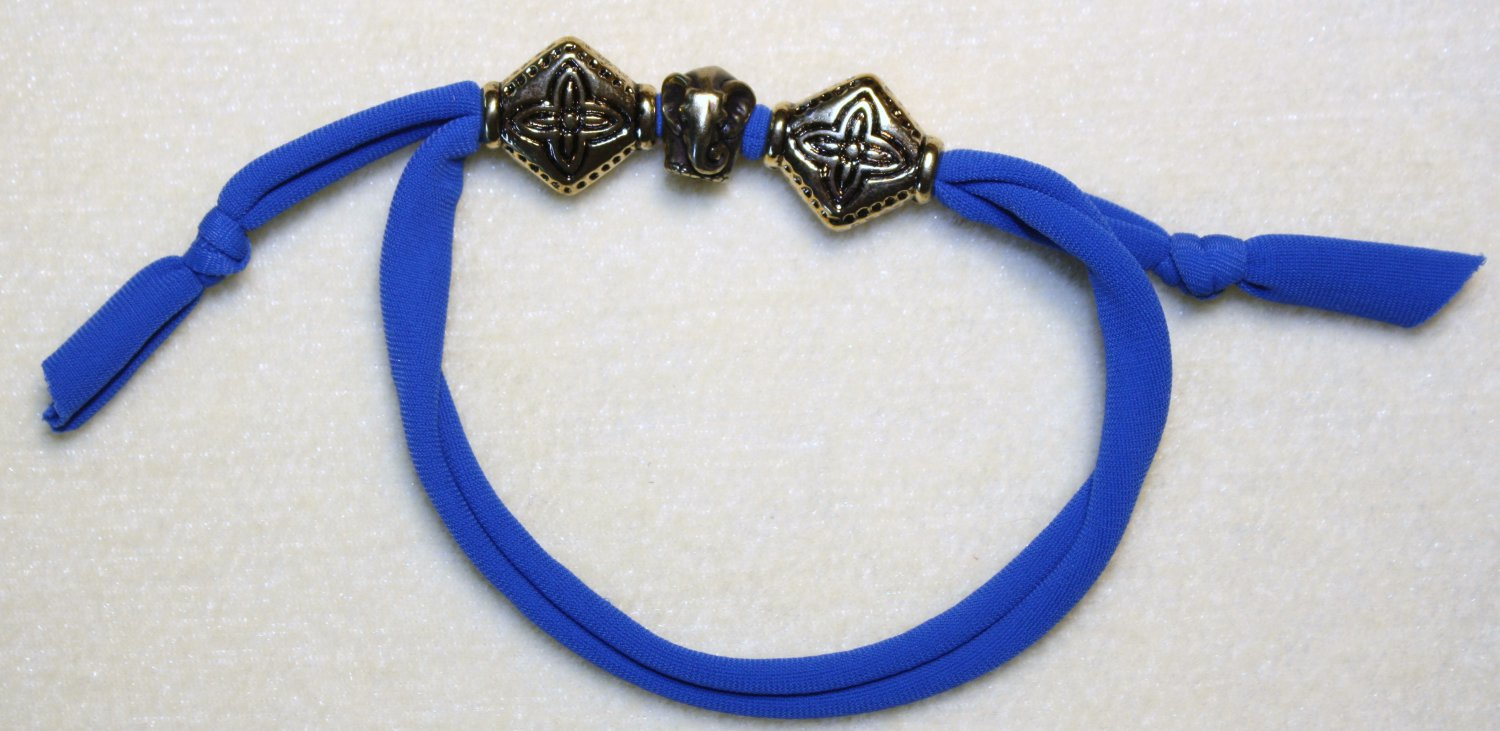 Blue Stretch Cord Elephant Bracelet - Item #B77