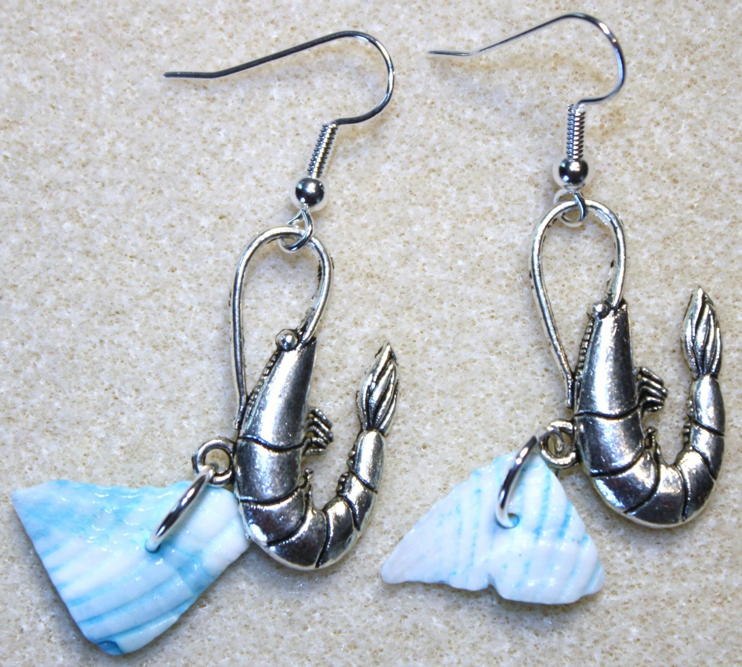 Accented Shrimp Earrings, Design 17 - Item #E449