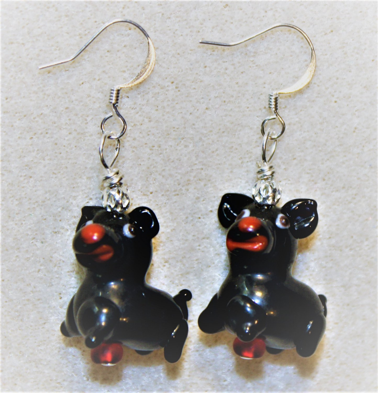Black N' Red Pup Earrings - Item #E466