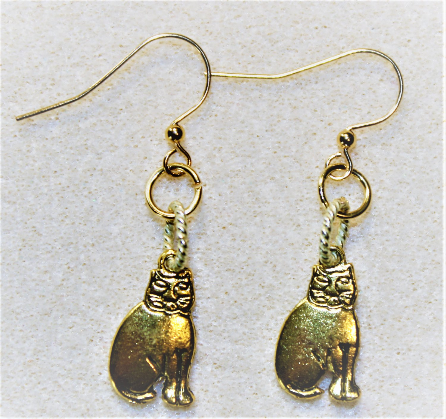 Goldtone Cheshire Cat Earrings - Item #E467