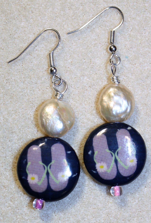 Pearly Flip Flop Earrings - Item #E479