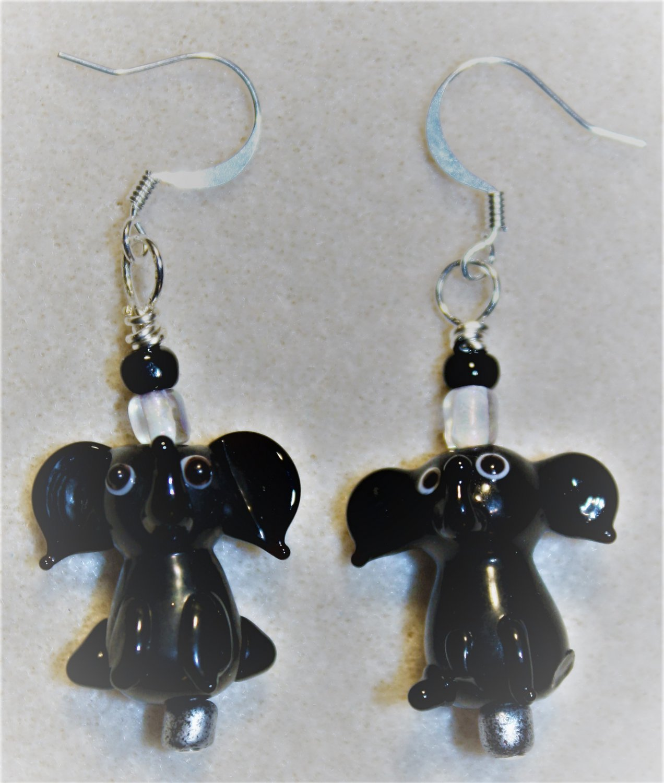 Black Elephant Earrings - Item #E490