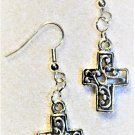 Silvertone Cross Earrings - Item #E497