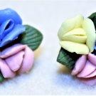 Porcelain Flower Earrings, Design 1 - Item #E539