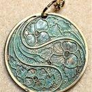 Teal Patina Floral Necklace - Item #N34