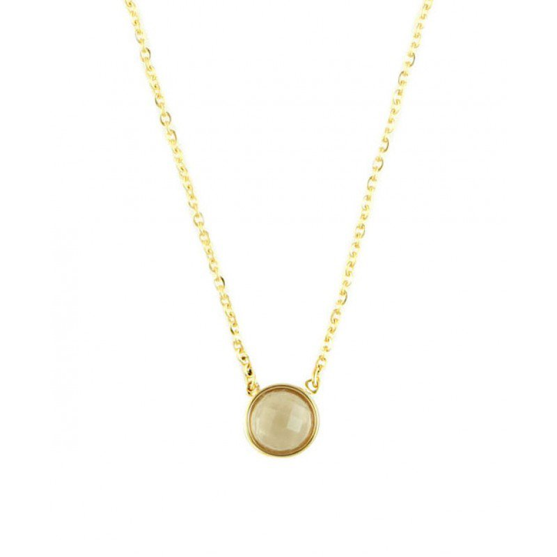 Champagne Glass Stone Stainless Steel Necklace