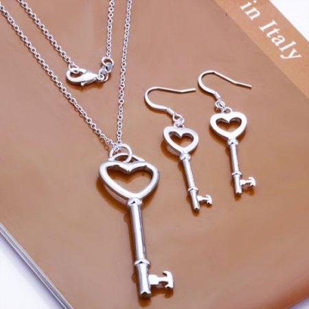 Necklace & Earring Set Heart Keys .925 Sterling Silver