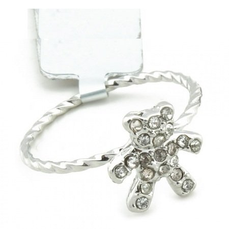 Teddy Bear Ring - .925 Sterling Silver Austrian Crystals