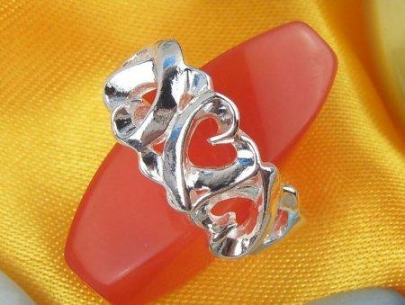 5 Heart Design Ring- .925 Sterling Silver