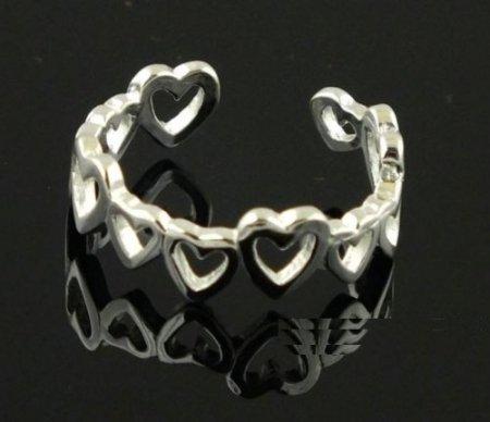 Heart Design Toe Ring- .925 Sterling Silver