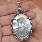 "Cameo Lady Crystal Carved Shell Pendant 2 1/2"" .925 Sterling Silver"