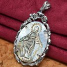 "Virgin Mary Cameo Crystal Carved Shell Pendant 2 1/2"" .925 Sterling Silver"