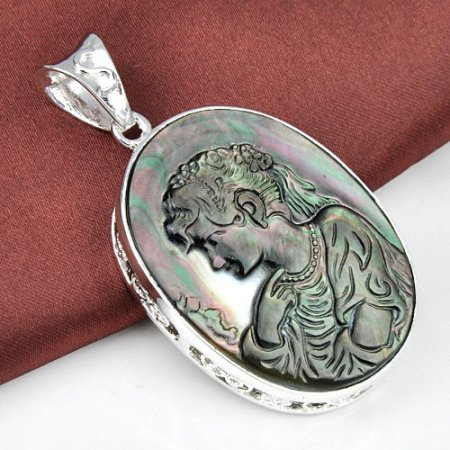 "Lady Carved Cameo Crystal  Shell Pendant 2 1/2"" .925 Sterling Silver"