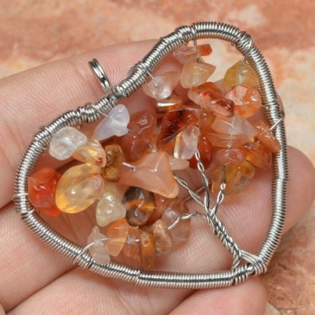 Pendant Natural Rutilated Quartz Red Agate Gemstone .925 Sterling Silver