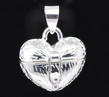Lovely Heart Perfume Pendant .925 Sterling Silver