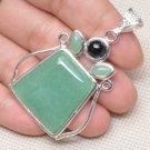 Pendant Black Onyx Green Aventurine Gemstone .925 Sterling Silver