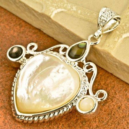 Pendant Heart Natural Shell Gemstone .925 Sterling Silver