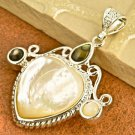 Pendant Heart Natural Shell Gemstone .925 Sterling Silver