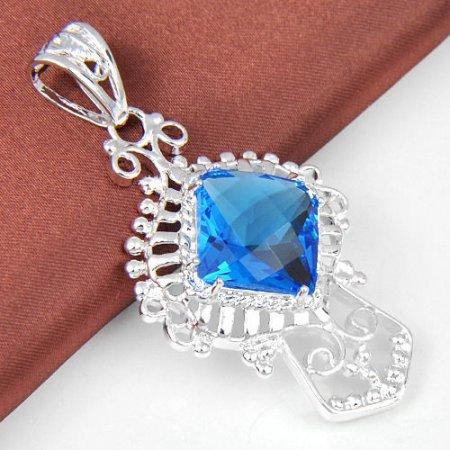 Pendant Blue Topaz Gemstone .925 Sterling Silver